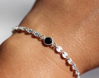 Bracelet chain textured silver hoops, black onyx stone, black and silver bracelet