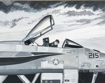 F18 SuperHornet - original, made to order watercolor painting by N Hallum