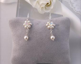 Bridal earings, wedding accessories, bridal jewellery,swarovski crystals,sterling silver bridal earings, bride gift for bride