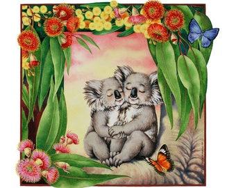 Koala Cuddles Archival Quality Print, Australian Art, Koala Illustration