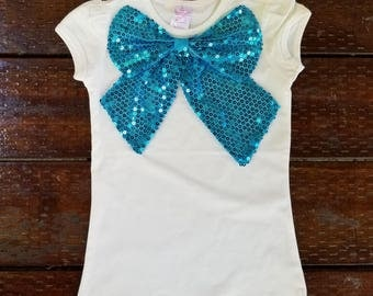 Girls Blue/Turquoise SEQUINS BOW short sleeve T SHIRT