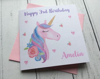 Personalised Unicorn Girls Birthday card- Greeting Card - teenager, daughter, granddaughter, niece, friend, goddaughter, 1st,2nd,3rd,4th,5th