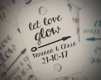 Let love glow tags! Wedding favour tags. Glow sticks.