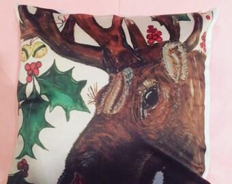 Original artwork on decorative cushion/throw pillow - Rudolph
