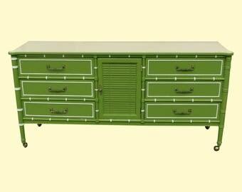 Mid-Century Apple Green Faux Bamboo Dresser