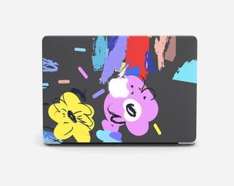 BLACK FLOWER Macbook 12 case, Macbook 12 inches case, Macbook 12 inch, Macbook 12, Macbook black case, Macbook cover, Macbook hard case