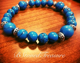 Blue Turquoise Natural Stone Bracelet