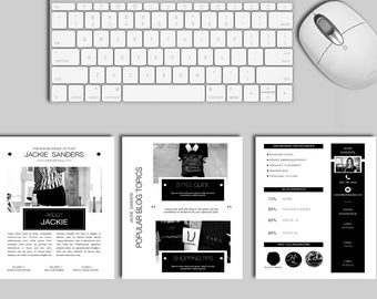 Blogger Media Kit Template | 3 Pages (Black and White) INSTANT DOWNLOAD!