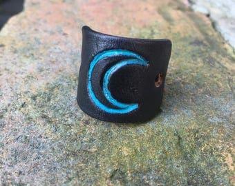 Leather Scorpio moon ring