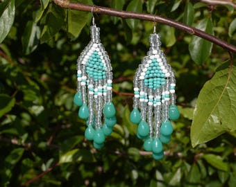 Beaded Boho Teal and Turquoise Dangling Earrings