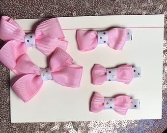 Pink Baby Girl Hair Bow Clip Set