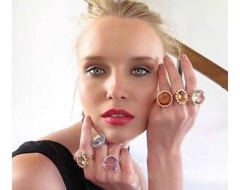 Blue Topaz Ring/ London Blue Topaz / Diamond Blue Topaz Ring/ Birthstone Blue Topaz Ring/ 14k white gold Diamond ring/ Blue Topaz Jewelry/