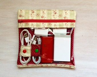 Transparent case with cable Binder, toiletry bags