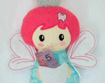 Tooth fairy stuffie doll plushie with pocket
