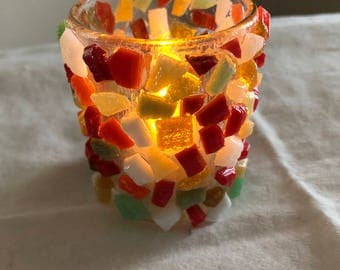 Small holiday candle votive