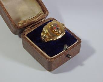 Unique Antique Gold-Plated Silver Ring With Memento Mori Skulls-Corals-Victorian Era-Late 19th Century