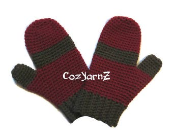 MITTENS!  Rust Red and Chocolate Brown mittens, Elementary Child Size crochet mittens, unisex mittens