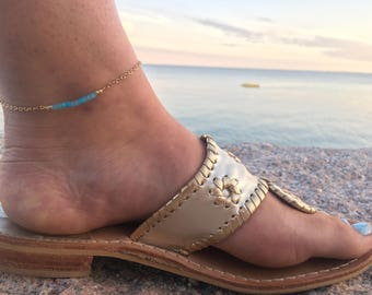 Beaded Anklet - Beaded Bar Anklet - Bar Anklet - Blue Beaded Anklet - Ankle Bracelet