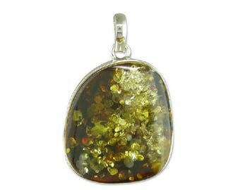 Large Green Amber Ovoid Sterling Silver Pendant