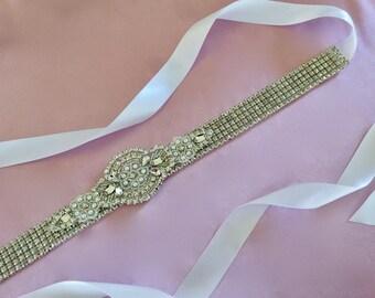 Silver Bridal Sash, Silver Wedding Sash, Silver Bridal Belt, Silver Wedding Belt, Bridal Gown Sash, Wedding Gown Sash, Wedding Gown Belt