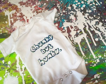 Chunky but Hunky-Cute, Original, Baby Clothes, Bodysuit