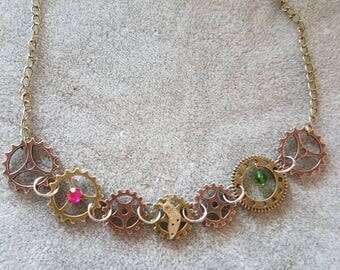 Steampunk 17.25 inch necklace with crystal and rhinestone