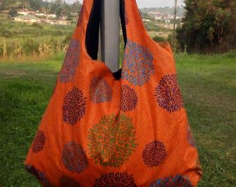 Brilliant Orange African fabric bag