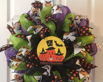 Happy Halloween Deco Mesh Wreath