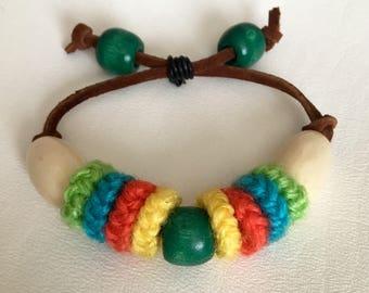 Crochet beaded bracelet. Colorful bracelet. Hippie bracelet. Folk Art jewelry. Festival jewelry.