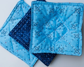Reversible Set of 2 Up-cycled Potholders and 1 Microwave Bowl Potholder
