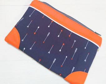 Lined clutch: arrows and contrast bright orange faux leather