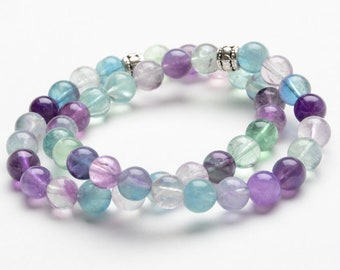 FLOURITE DOUBLE STRAND 8mm Beaded Bracelet - Natural Healing Gemstones - Yoga Jewelry