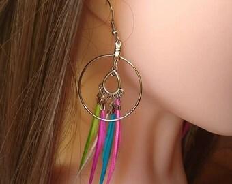 Multicolor feather earring, feather earring,summer earring.