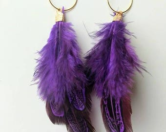 Purple Feather earring.