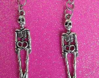 Skeleton earrings, Halloween earrings, Halloween Party accessory.
