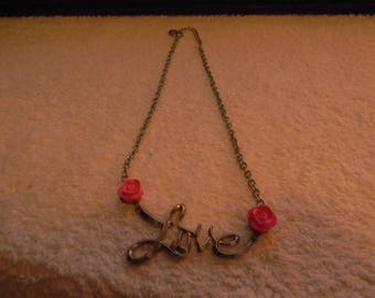 Silver LOVE Necklace with 2 Pink Flowers