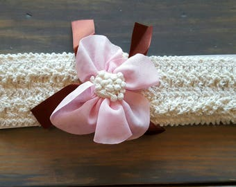 Baby girl crochet headband with pink and maroon accents
