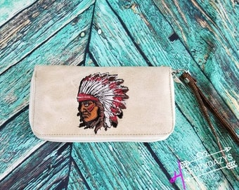 Leather native American wallet