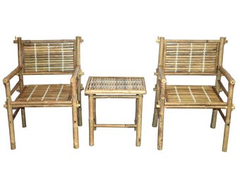 3 Piece Bamboo Patio Set - 2 Chairs, Table - Indoor and Outdoor Furniture