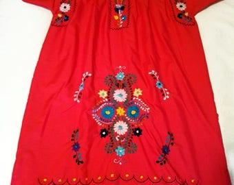 Medium - Red Mexican Dress (Short/Above Knee)