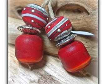 HOT TAMALE **Handmade Lampwork Beads** Red**Angela Bohanan