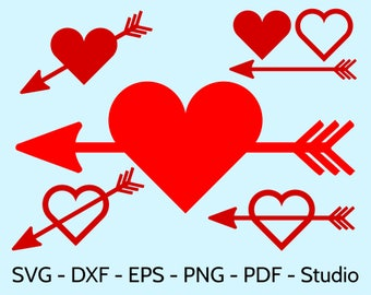 SVG Arrows With Hearts clipart for Valentine's Day