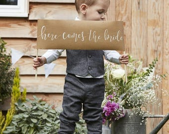 Here Comes The Bride Sign Rustic Country