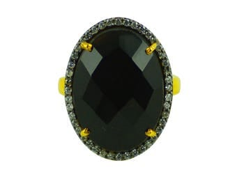 SBRG006 925 Sterling Silver Gold Plated Black Onyx Ring Surrounded With CZ