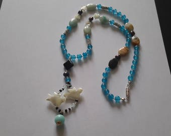 Love is in the air..mixed stones, pearls& MOP necklace