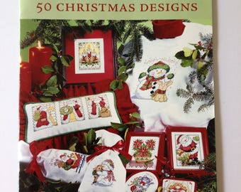 50 Christmas Designs, Charted Cross Stitch, Needlework pattern book, Fast & Festive, DIY holiday, christmas projects, x stitch