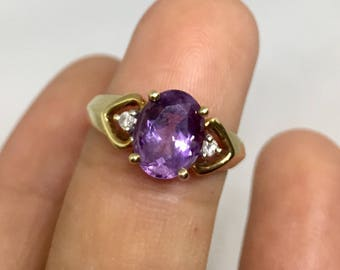 Vintage 9ct Gold 3-Stone Diamond and Amethyst ring