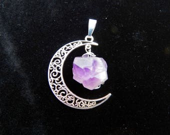 Raw Amethyst Moon Necklace