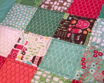 Handmade baby boy or girl quilt/ Farm Tractors quilt/ Farm animals/ Floral patchwork quilt/ Red, Green, Chocolate quilt/ Barnyard Animals