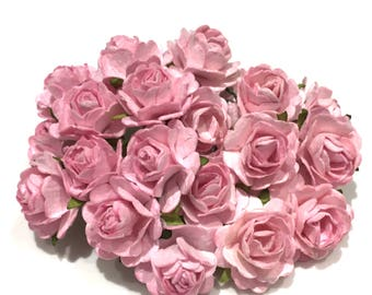Pink Open Mulberry Paper Roses Or093
